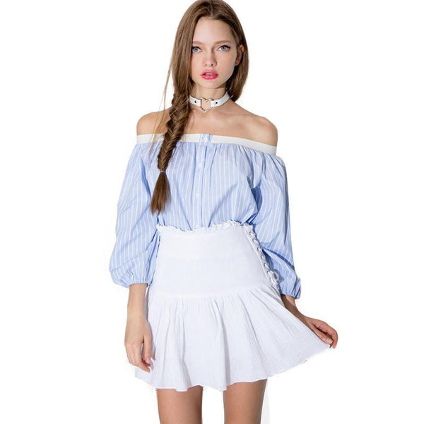 Womens Off Shoulder Lantern Sleeve Sexy Striped T-shirt Loose Slim Pleated Button Basic Tops Tees for