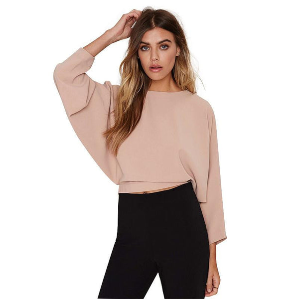 Womens Fashion Backless Solid Three Quarter Sleeve Crop Tops Drawstring Buttons Lady T-shirts For