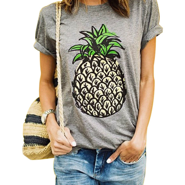 Online discount shop Australia - Fashion  Pineapple T Shirts Pineapple Print Women T-shirt Casual O-neck Short Sleeve Tee Tops Crop Top Woman Clothes