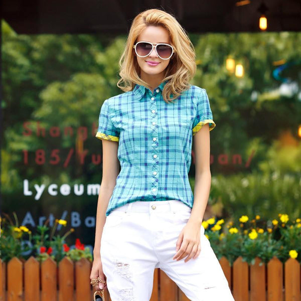 Veri Gude Plaid Shirts Women Short Sleeve Cotton Blouse for Contrast Color