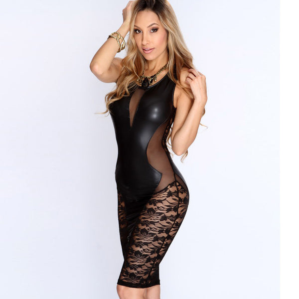 New Sexy Fashion Women Dress Black Faux Leather Floral Lace Mesh Little Black Club Dress LC21643