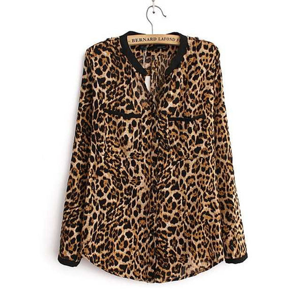 Online discount shop Australia - Leopard Print Chiffon Women Lady Sexy Long-sleeve Top Shirt Loose Plus Size V neck Leopard Blouse Clothing