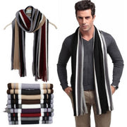 Online discount shop Australia - Designer scarf men striped cotton scarf female & male brand shawl wrap knit cashmere bufandas Striped scarf with tassels
