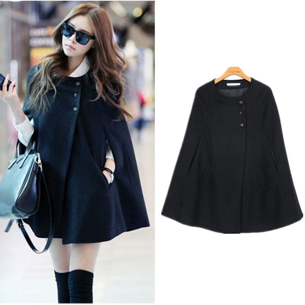 Online discount shop Australia - Korean Womens Cape Black Batwing Wool Oversized Casual Poncho Jacket Lady  Warm Cloak Coat Outwear Drop Shipping