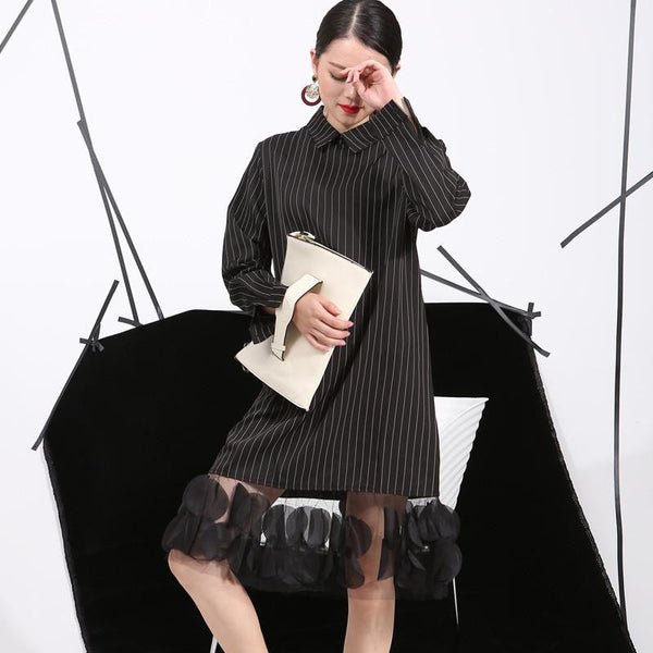 Spring Vertical Stripes Lapel Three-Dimensional Dress Stitching Yarn Women Apparel 4L0051