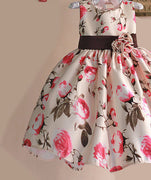 New Girls Dress Rose Floral Tribute Silk Kids Dresses for Girls Birthday Party Size 1-6T