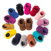PU Suede Leather born Baby Boy Girl Baby Moccasins Soft Moccs Shoes Bebe Fringe Soft Soled Non-slip Footwear Crib Shoes