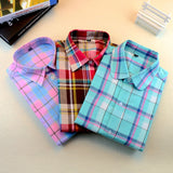 Online discount shop Australia - Brand New Fashion Women Blouses Long Sleeve Turn-down Collar Plaid Shirts Women Casual Cotton Shirt Style