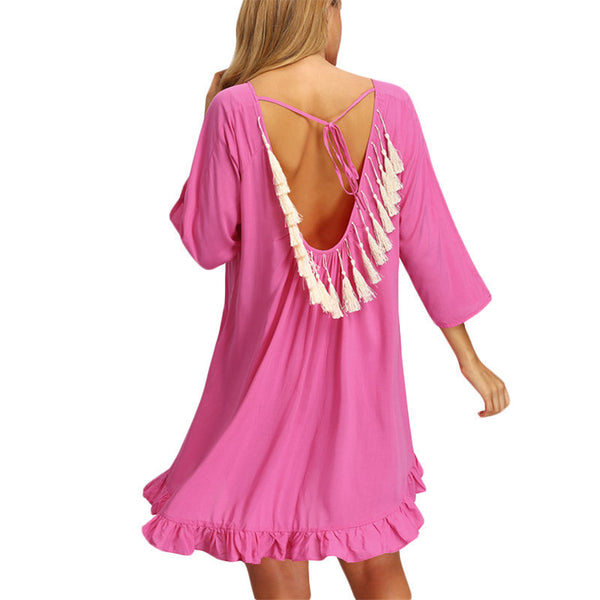 Online discount shop Australia - Ladies Ruffle Backless Dresses Casual New Summer Crew Neck Long Sleeve Rose Red Flounce Hem Fringe Backless Dress