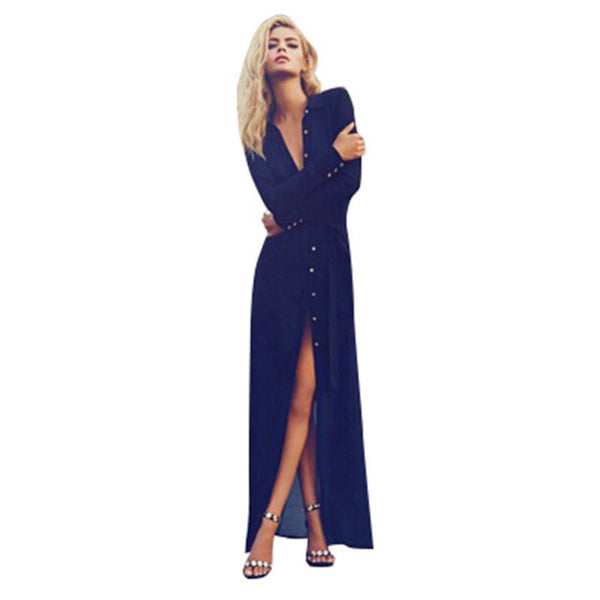 New Women Sexy V Neck Split Button Long Cardigan Blouse Shirt Beach Maxi Dress Deep Blue
