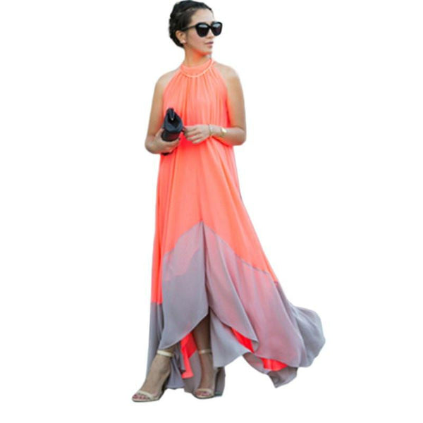 WJ Women Summer Bohemian Party Dress Beach Off the Shoulder Chiffon Long Maxi Dress Plus Size91