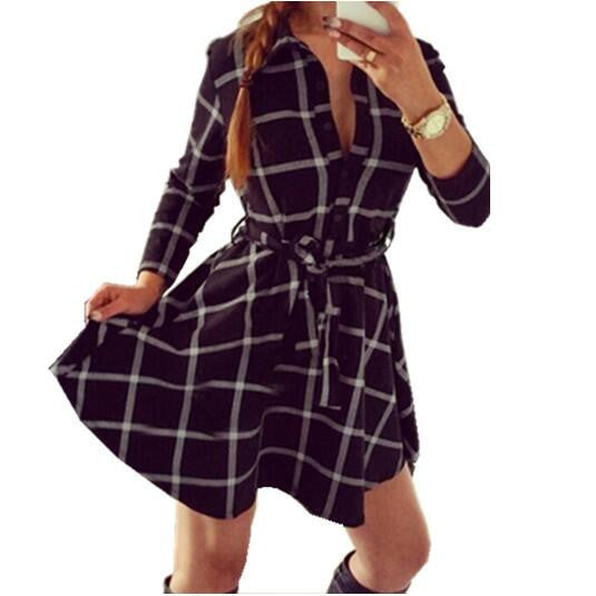 Online discount shop Australia - Explosions Leisure Vintage Dresses Autumn Fall Women Plaid Check Print Spring Casual Shirt Dress Mini Q0035