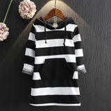 Striped Children Clothing New Long Sleeve Girls Dresses Cotton Hooded Girls Clothes Toddlers Kids Dresses