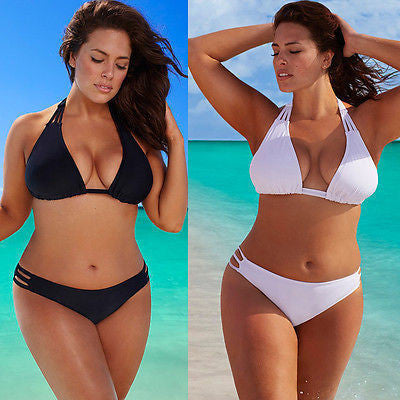 Plus Size Bikini Set Low Waist Push Up Big Size Swimsuit Swimwear Large Size Bikini Tocas Bathing SuitsBlackXLa