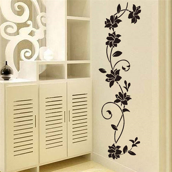 feb7cd092b8 Black flower Vine Wall Stickers Refrigerator Window cupboard Home  Decorations Diy Home Decals Art Mural Posters