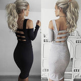 Online discount shop Australia - Elegant Autumn Dress Women Long Sleeve Backless Sexy Party Dresses Winter Black Bandage Bodycon Dress Vestidos de fiesta