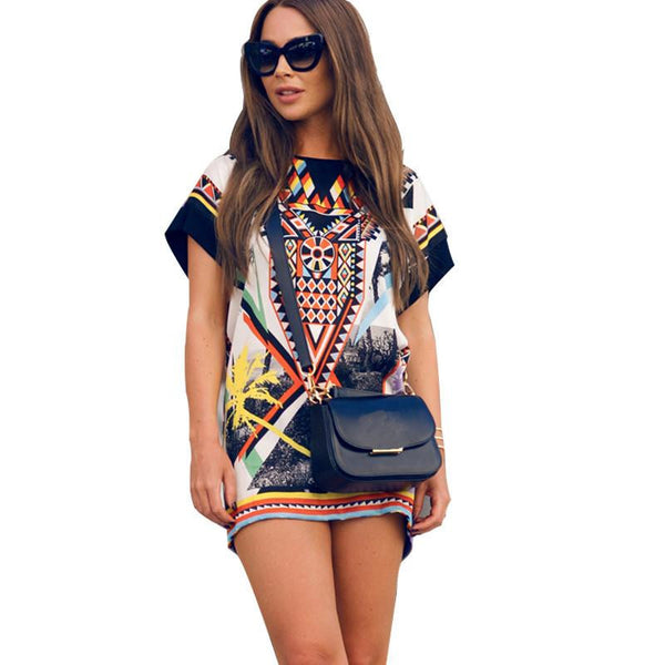 Women Chiffon Blouse Vintage Tribal Print Brand Blouses Casual Loose Straight Dresses Plus Size O-Neck blouse Shirt