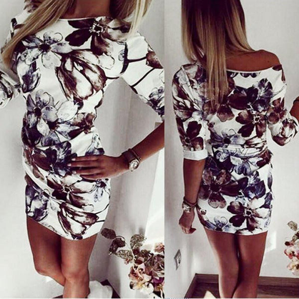Summer Fashion Casual Women Dress Half Sleeve Asymmetrical neck Dress Sheath Bodycon Dresses