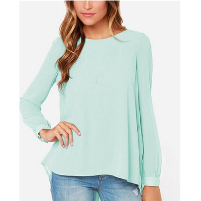 Online discount shop Australia - Fashion Women Chiffon Blouses Casual Shirt Long Sleeve Pleated Back Blouse Plus Size XS-5XL