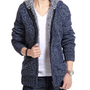 Online discount shop Australia - Jacket Men thick velvet cotton hooded fur jacket men's padded knitted casual sweater Cardigan coat Outdoors parka