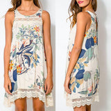 Online discount shop Australia - Casual Sexy Women Dress Boho Crewneck Floral Lace Crochet Sleeveless Beach Dresses