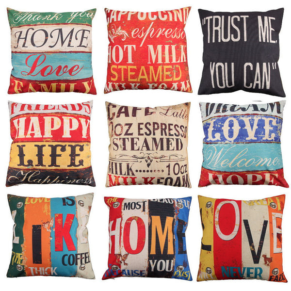 Online discount shop Australia - 9 Styles 45x45cm Cotton Linen Quote Cushion Cover Cover Creative letters Pattern Day Gift Pillow case Throw Pillow Cover
