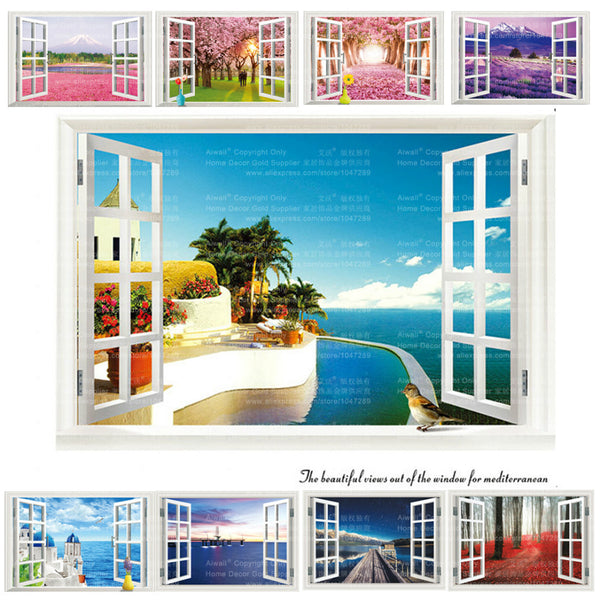 Styles Removable Beach Sea D Window Scenery Wall Sticker - Window decals for home australia