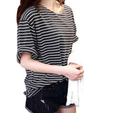 Online discount shop Australia - New   T Shirt Women All-match Basic Tee Shirt   Female Top Young Girl Stripe Loose Half Sleeve HARAJUKU T-shirts