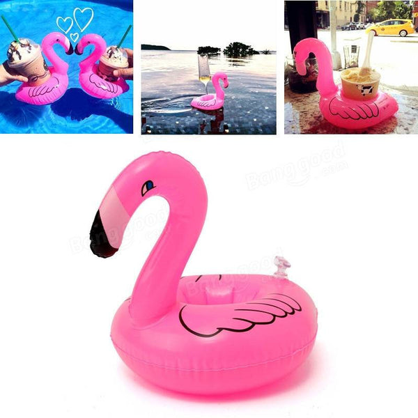 Online discount shop Australia - 6pcs/lot Mini Cute Flamingo Drink Can Holder PVC Inflatable Floating Swimming Pool Bathing Beach Party Kids Toy