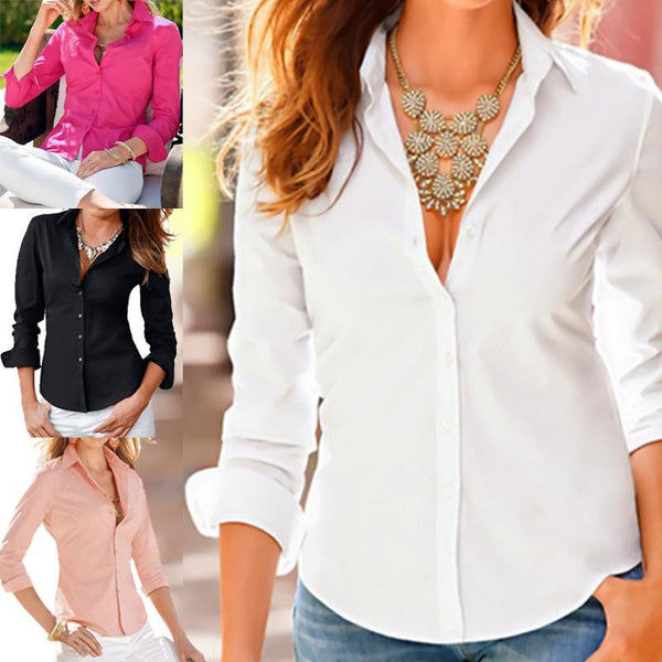 Turn Down Collar Elegant Fashion Slim Long Sleeve Blouse Formal Ladies Office Shirts Black