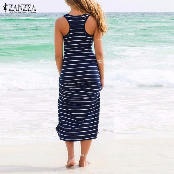 Women Striped Boho Long Maxi Sleeveless Beach Vest Dress Sexy Ladies Casual Dress Vestidos Plus Size