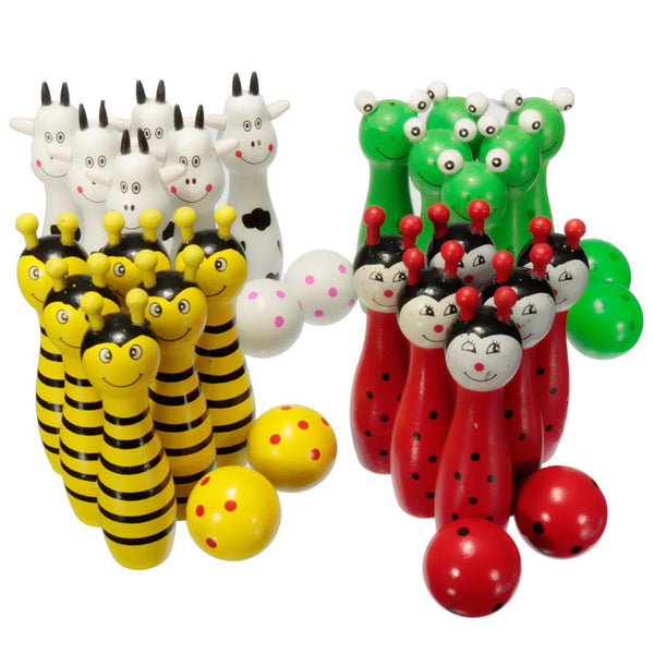 Online discount shop Australia - Lovely Mini Cartoon Wooden Bowling Ball Skittle Game Cute Animal Shape For Kids Children Toys 11.5x2.8cm 4Color 8Pcs/Set