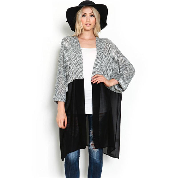 Women Knitted Chiffon Blouse Shirt Female Long Casual Chiffon Cardigans Kimonos