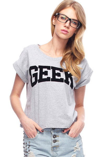 new t shirt women Geek Print Grey Black T-shirt