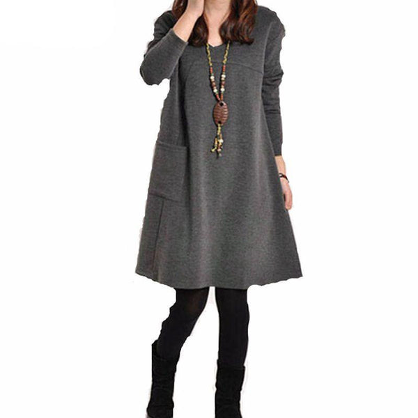 Zanzea Autumn Winter Women Long Sleeve Pocket Dress Solid O Neck Casual Loose Dresses Vestidos Plus Size S-5XL
