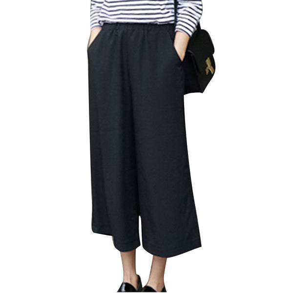 Women Pants Sexy Wide Leg Pants Ankle-Length Pants High Waist Plus Size Thin Leisure Ladies Casual Solid