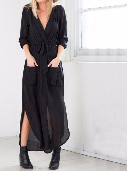 Online discount shop Australia - Black Long Maxi Tshirt Dress New Arrival Women Fashion Chiffon Long Maxi Dress Shirt Dress Black Army Green Grey With Belt