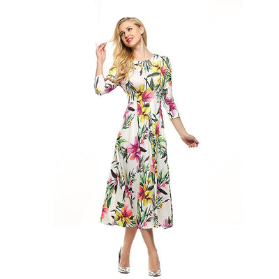 Women Dress Retro Vintage Rockabilly Floral Print Swing Summer Dresses Elegant
