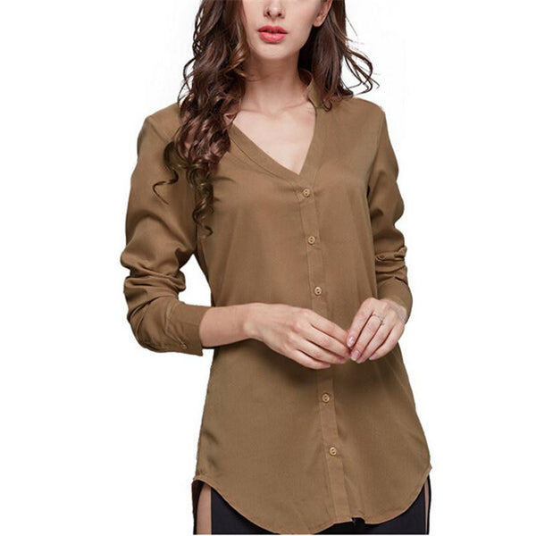 Women Back Split Long Sleeve Chiffon Blouses Shirt Sexy V-Neck Button Decoration Tops S --4XL