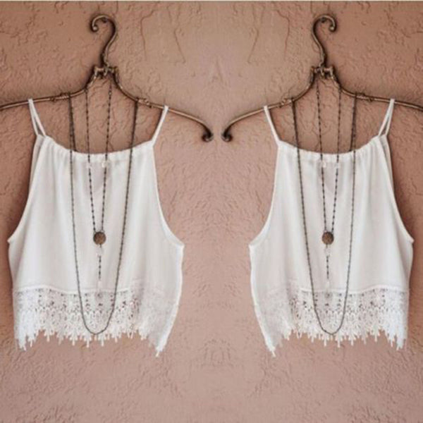 Online discount shop Australia - Fashion Women Lace Tops Sleeveless Casual Tops Tee T-Shirt S M L XL