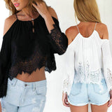 Online discount shop Australia - Casual Women Lace Off-Shoulder Clothes Long Sleeve Chiffon Crop Tops T-Shirt