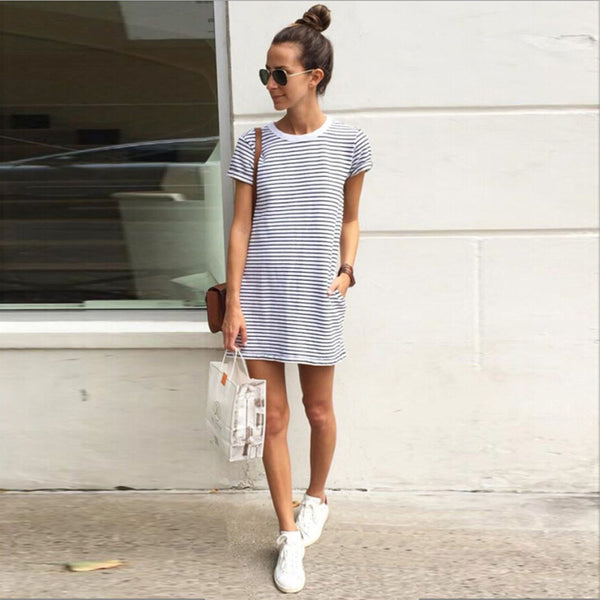 New Fashion Women Dresses Sexy Women Casual Loose Striped Party Bodycon Mini Dress OL Shopping Vestido