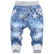 New Kids Jeans Elastic Waist Straight Bear Pattern Denim Seventh Pants Retail Boy Jeans For 2-5 Years WB142