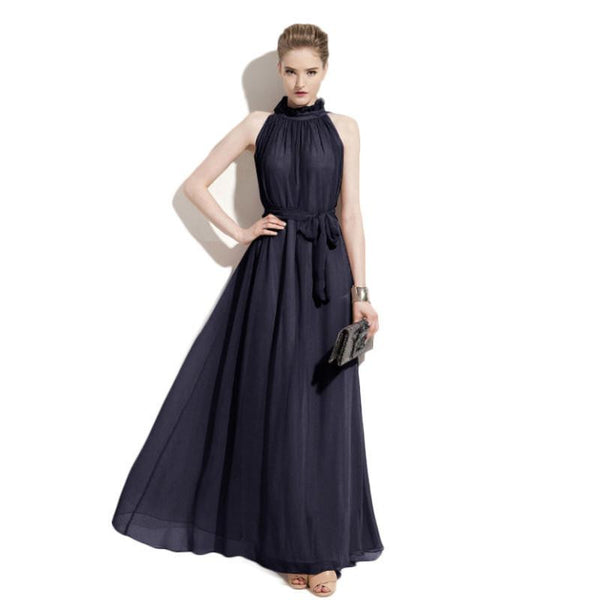 women sexy chiffon maxi dress woman party vestido dresses nymph hang neck collar New cheap clothes