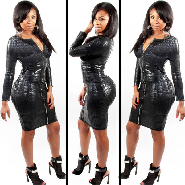Plus Size Club Dress Women Clothing Black Snakeskin Faux Leather Zipper Bodycon BBW Summer Bandage Pencil Dress