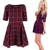 Women Red Plaid Dress Round Neck Summer Half Sleeve Fashion Mini Dresses Vestidos Y2