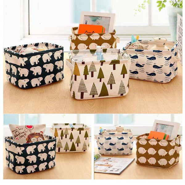 Online discount shop Australia - Cotton Linen Home Storage Box Clothes Organizer Folding Office Desk Organizer 5 Colors Makeup Organizer for Cosmetics