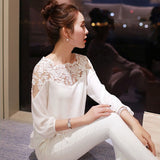 Online discount shop Australia - Chiffon Shirt Newest Sweet Hollow Shirt Three Quarter Sleeve Stitching Lace Blouse Female Crop Top Sexy Ropa Women
