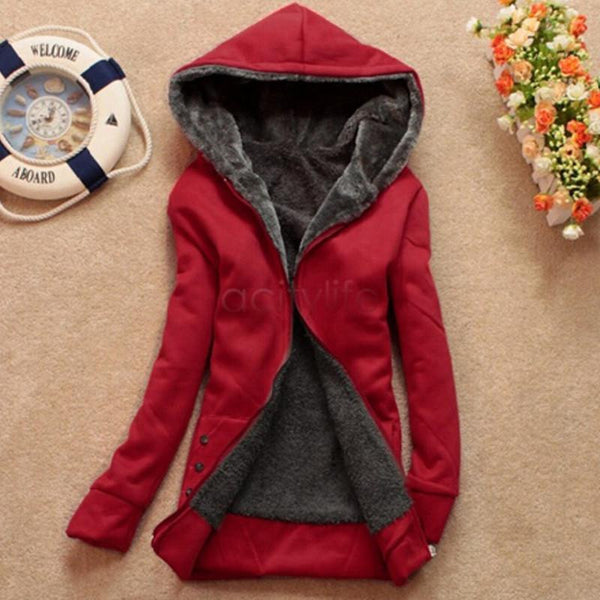 Women Fleeve Hoodies Casual Sweatshirt Thicken Warm Coat Female Outerwear Jacket Plus Size 68