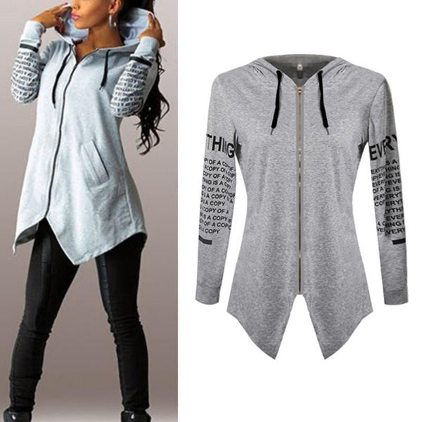 Women Hoodies Letter long-sleeved hooded Harajuku Plus Size sportswear Coat KL075